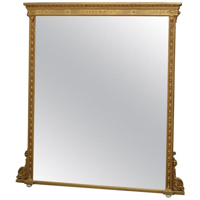 English Victorian Giltwood Overmantel Mirror