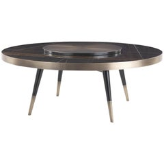 Gianfranco Ferré Mayfair Round Dining Table in Wood with Bronzed Legs