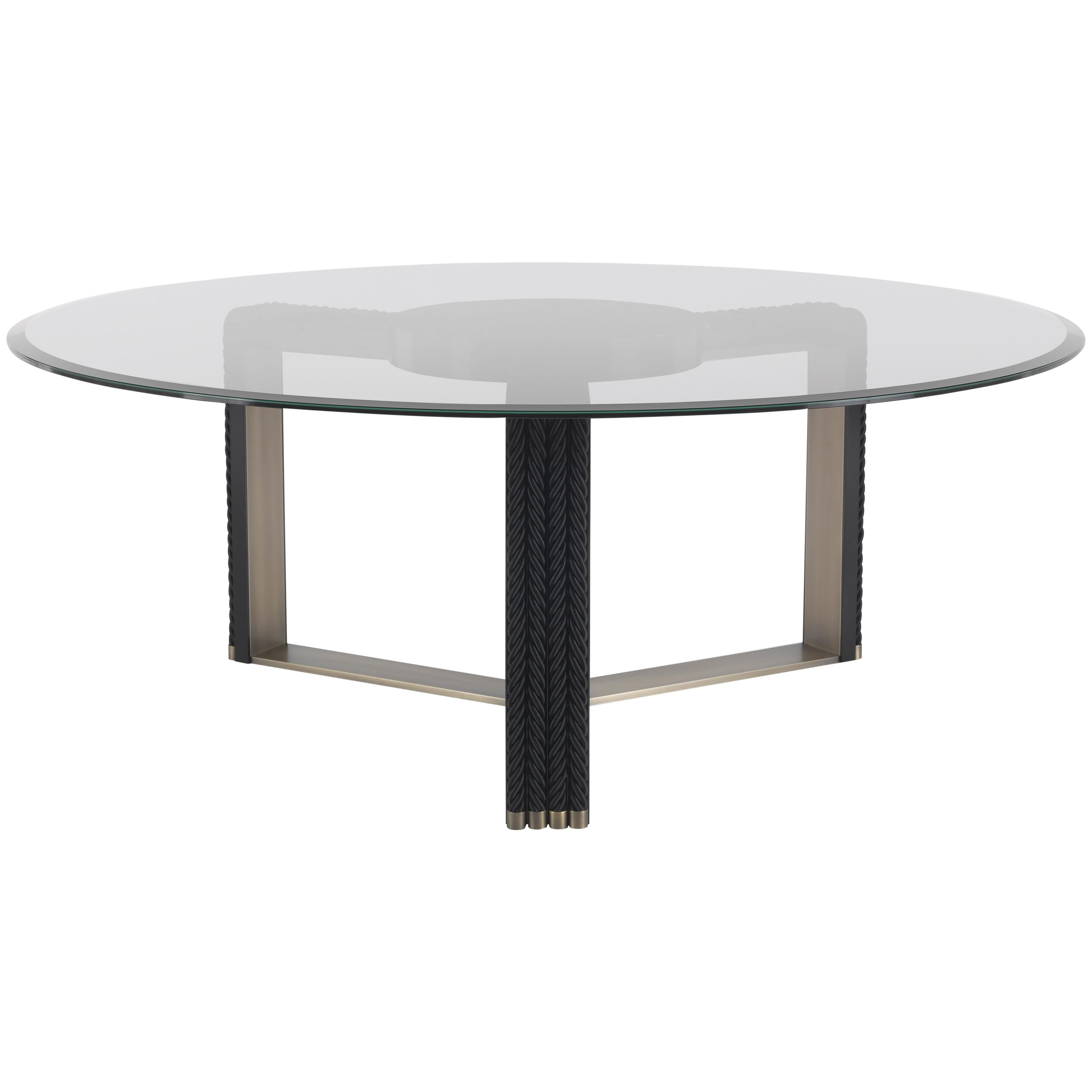Gianfranco Ferré Glasgow Bronzed Brass Dining Table With Glass Top