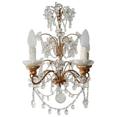 French Murano Drops Flowers and Swags Chandelier, circa 1920
