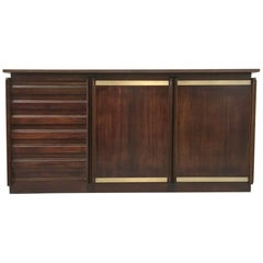 Midcentury Italian Rosewood and Brass Credenza, 1960s