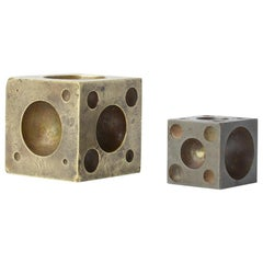 Decorative Vintage Brass and Metal Cubes