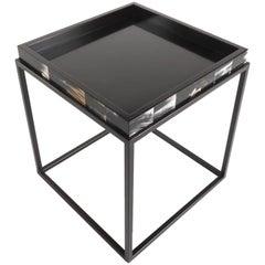 Gianfranco Ferré Kurt Side Table in Black and White Matte Steel