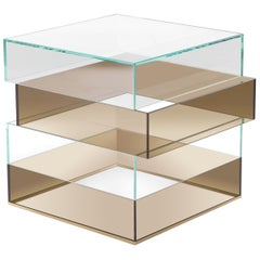 Gianfranco Ferré Jenga Side Table in Bronze and Clear Glass