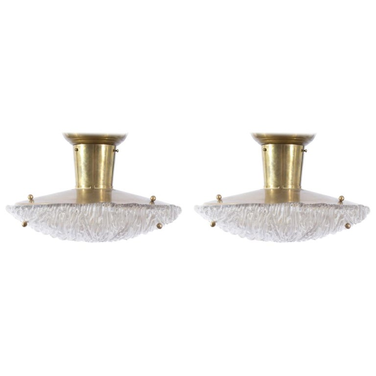 Pair of 1950s Italian Striated Glass and Brass Flush Mount Ceiling Lights