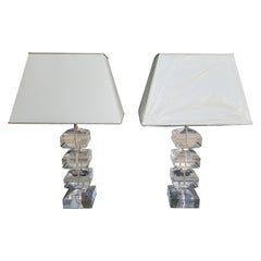 Pair of Plexiglass Table Lamps