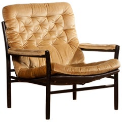 1970s, Golden Velours Lounge, Armchair by Kenneth Bergenblad for DUX, Sweden