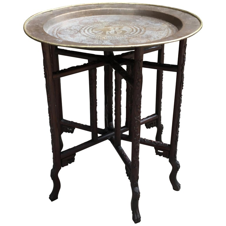 19th Century Chinese Rosewood and Brass Folding Table