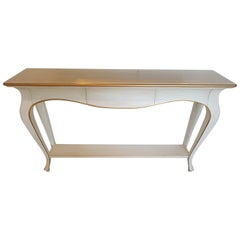 White Curved Console Table with Gold Leaf