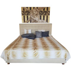 Crème Colored Leather Bed Set with Mattress and Frame