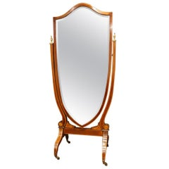 Edwardian Inlaid Mahogany Shield Shape Cheval Mirror