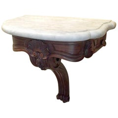 Pair of Walnut and Carrara Marble French Console Tables from 1890s