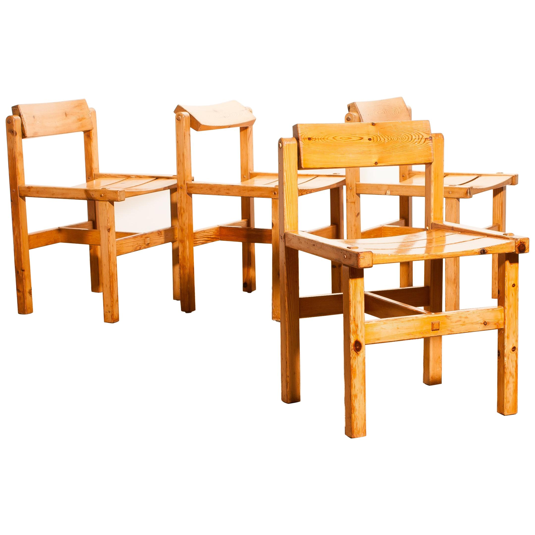 1960s Set Of Four Pine Chairs By Edvin Helseth Norway