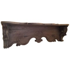 Oak Wood French Shelf or Wall Console from 1890s