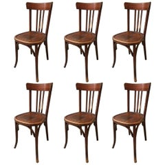 Set of Six French Bistrot Chairs in Beechwood with Mahogany Patina from 1930s