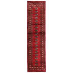Vintage Persian Rug, Turkmen Runner Rugs, Red Carpet Runner