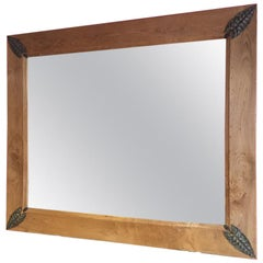 Oak Framed French Mirror with Metal Leaf Decorations from 1910s