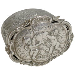 Romantic Antique English Sterling Silver Box, Cherubs and Heart