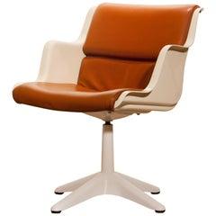 1970s, Leather, Fiberglass and Metal Desk Chair by Yrjö Kukkapuro for Haimi