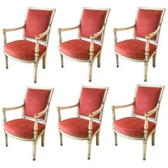 Set of Six Lacquered Wood and Velvet Seat French Provincial Armchairs from 1890s