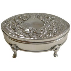 Antique English Sterling Silver Ring Box, 1905