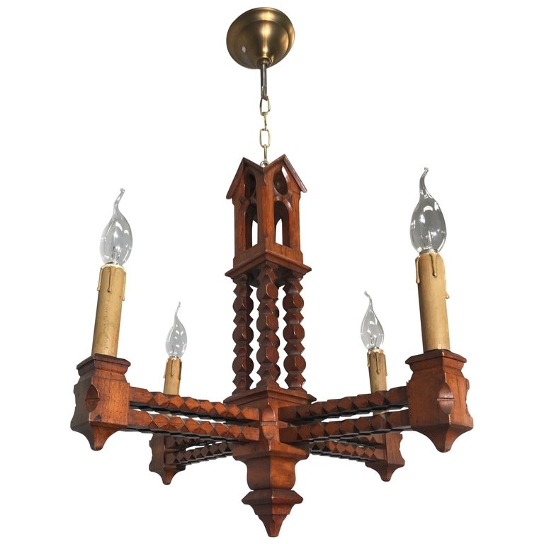 Handcrafted Early 1900 Arts & Crafts Era Gothic Revival Pendant or Chandelier