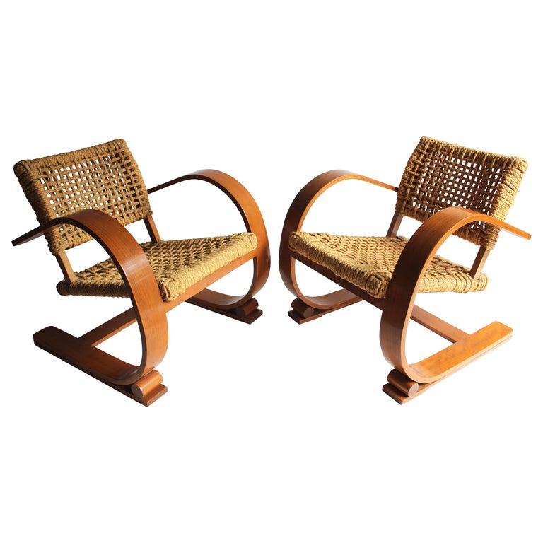 Pair of Audoux Minet Rope Armchairs