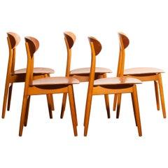 1950s, Teak Set of Five Dining Chairs Model 'Eva' by Sven Erik Frylund