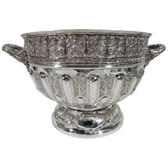 Sumptuous Antique English Sterling Silver Classical Centerpiece Punch Bowl
