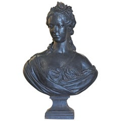 19th Century French Cast Iron Bust of a Young Lady by J. J. Ducel Foundry, Paris
