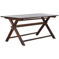 N. Italian or Austrian Pinewood Trestle-Form Campaign-Style Table, circa 1870
