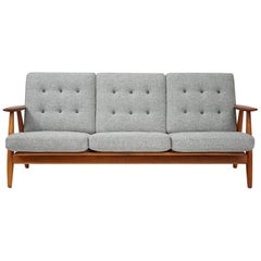Hans Wegner Cigar Sofa, Oak and Teak