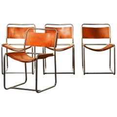 Steel / Leather Set Dining Chairs by Paul Ibens & Clair Bataille for 't Spectrum