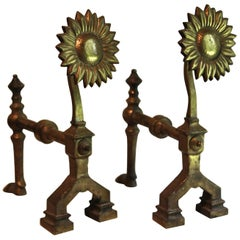 "English Aesthetic Movement Bronze ""Sunflower"" Andirons Manner Thomas Jeckyll"