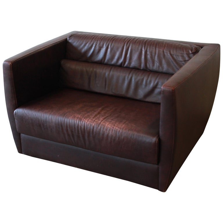 Roche Bobois Bauhaus Style Leather Loveseat or Cube Chair, 1970s