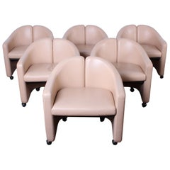 Set of Six Leather Chairs by Eugenio Gerli for Tecno