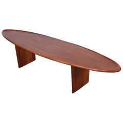 Walnut Surfboard Coffee Table by T.H. Robsjohn-Gibbings