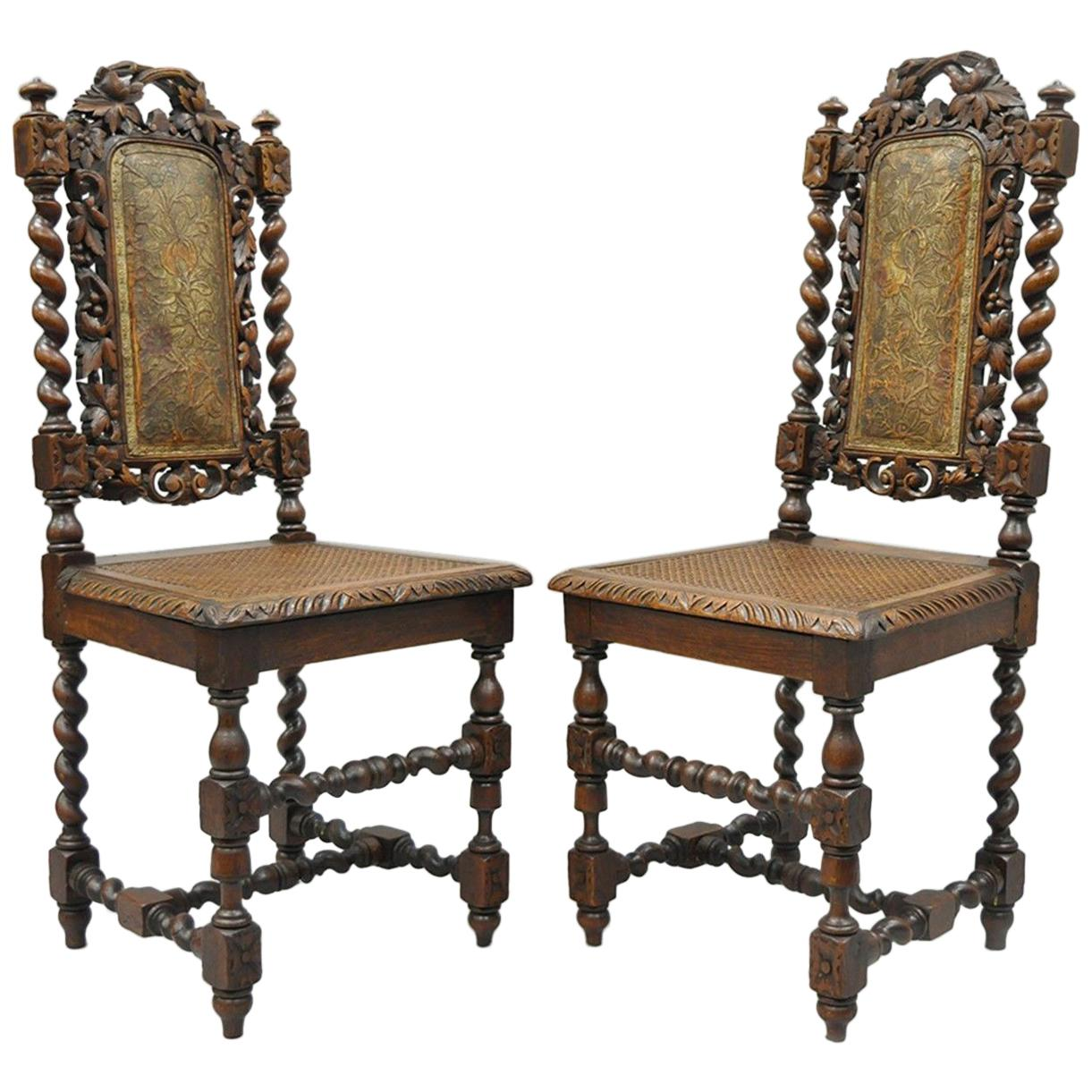 Pair Of Renaissance Revival Carved Oakwood Black Forest Barley Twist Cane  Chairs