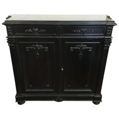 French Ebonized Cupboard with Black Belgian Marble Top and Drawers from 1880s