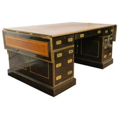 1920s English Leather Top Partners Desk Once Owned by Mariah Carrey