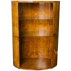 1970s Oval Goatskin Bookcase in the Style of Aldo Tura
