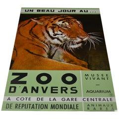 1960s Poster with Tiger, Zoo Antwerp, Belgium