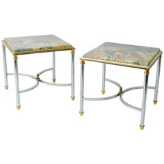 Pair of 1970s Chrome and Brass Marble-Top Side Tables