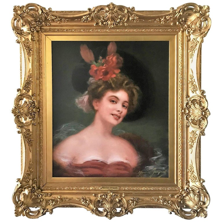 Antique French Oil on Canvas Portrait Painting, Signed Maurice Jacquet