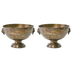 Pair of Large 1920s Silver Plate Bowls with Lion Heads