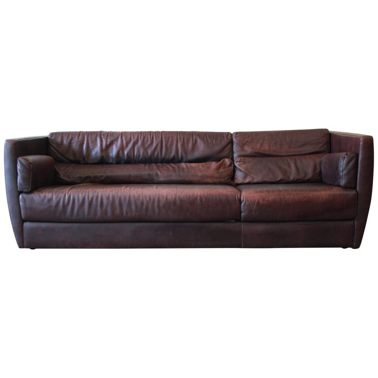 Roche Bobois Bauhaus Style Leather Sofa, 1970s For Sale