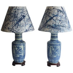 Pair of 19th Century Chinese Blue and White Vase Lamps