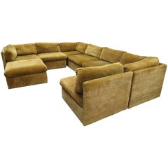 Handsome Eight-Piece Signed Milo Baughman Sectional Cube Sofa Mid-Century Modern