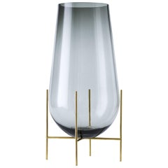 Echasse Vase by Theresa Arns, with Brass Legs and Smoked Glass