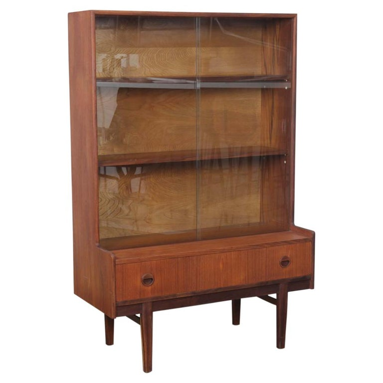 G Plan Teak Sliding Glass Door Display Cabinet For Sale At 1stdibs